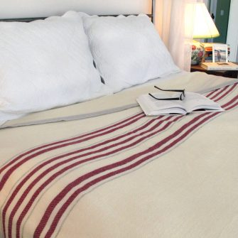 Swans Island White with Red Stripes Blanket
