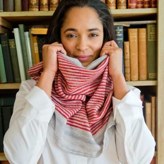 Cafe Cowl - pewter and cayenne
