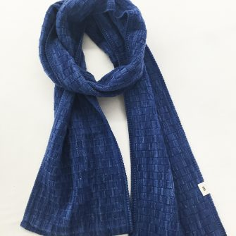 Basketweave Scarf, Nautical Blue