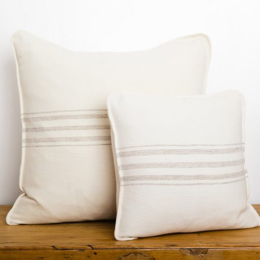 Swans Island_Grace Pillows in White with Grey stripes