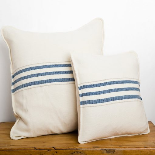 "Swans Island_Grace Pillows in White with Indigo stripes, 18"" and 26"""
