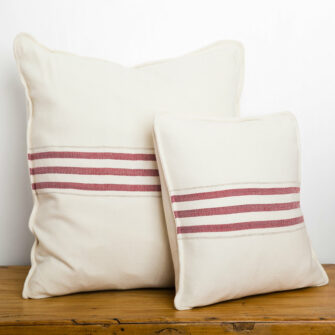 Swans Island_Grace Pillows in White with Winterberry red stripes, 18
