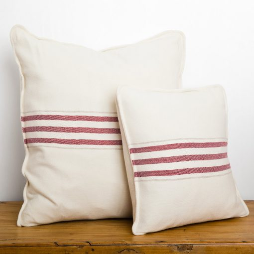 "Swans Island_Grace Pillows in White with Winterberry red stripes, 18"" and 26"""