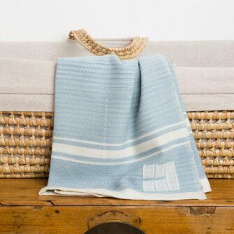 Grace Baby Blanket_Modern, Sky Blue with White Stripes