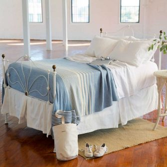 Penobscot Blanket - Wedgwood with White Stripes