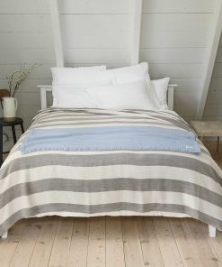 Cottage Cotton Striped Blanket - dolphin & natural