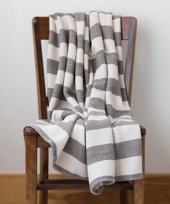 Cottage Cotton Striped Throw - dolphin & natural