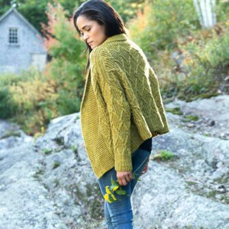 Swans Island Gabrielle Cardigan knitting pattern featuring our hand-dyed All American worsted yarn