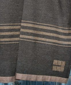 Rare Wool Throw - Dark Brown with Light Brown Stripes