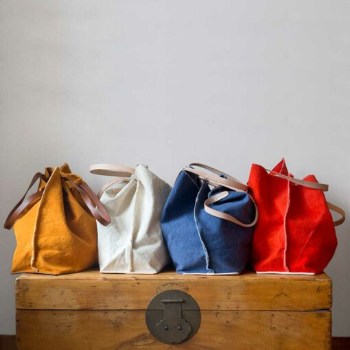 Swans Islands_Hana Canvas Boat Bag by GrafLantz. Sturdy cotton canvas with leather handles.