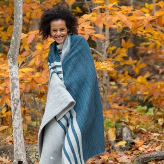 Swans-Island_Mt-Kineo-handwoven Throw in Atlantic made in USA with American Rambouillet wool and alpaca