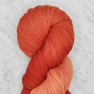Ombre fingering swatch - coral ombre