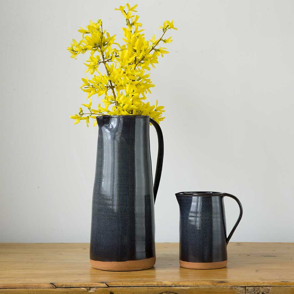 Stoneware large pitcher with flowers