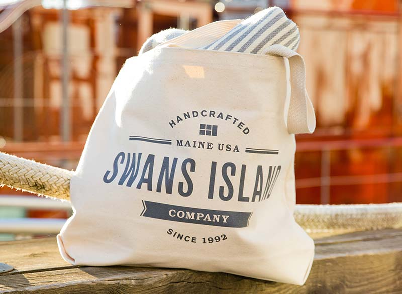 Swans Island Tote on dock