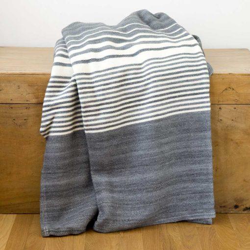 Penobscot Throw - graphite with white stripes