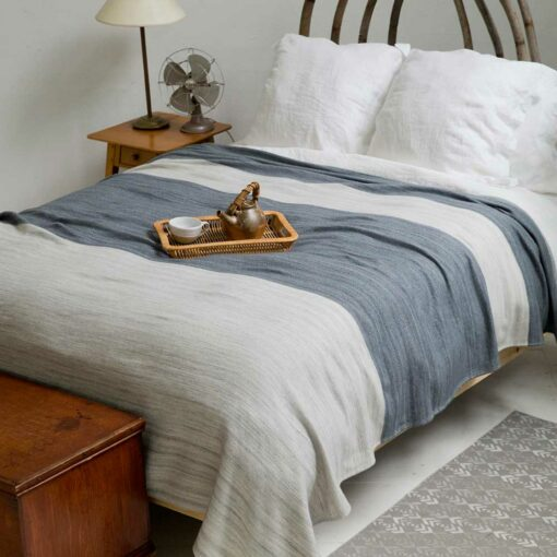 Swans-Island-Rangeley-Blanket in Dove_Graphite washable organic merino and cotton blanket, made in Maine