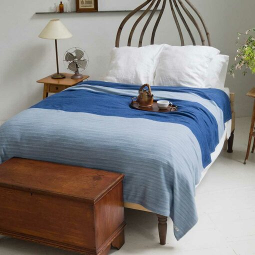 Swans-Island-Rangeley-Blanket in Wedgwood and Nautical Blue. washable organic merino and cotton blanket, made in Maine