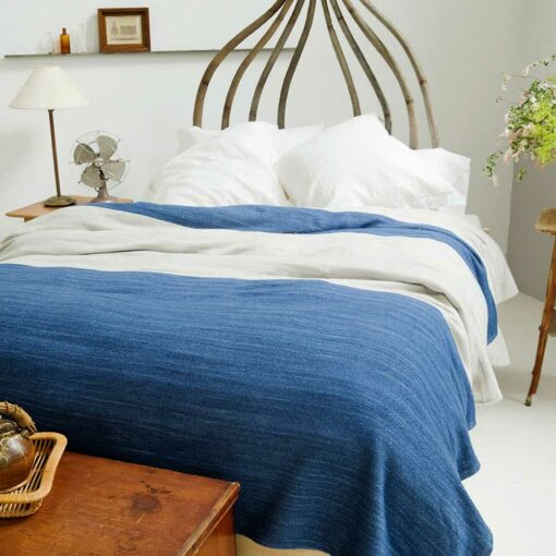 Swans-Island-Rangeley-Blanket in Nautical Blue and Dove. Washable organic merino and cotton blanket, made in Maine