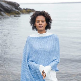 Swans Island's Firefly Ruana- hand-dyed and knit in Merino/Silk, made in the USA shown in Twilight color