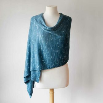 Swans-Island-Firefly-Knit Wrap in Blue Spruce, hand-dyed in Maine - this silk merino wrap is an elegant accessory