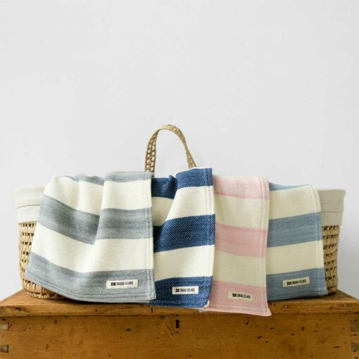 Swans-Island's_Regatta-Baby-Blanket in Pewter_-and Natural has bold two color stripes, woven with soft organic Merino wool and cotton