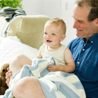 Swans-Island's_Regatta-Baby-Blanket is woven with soft organic Merino wool and cotton - the perfect gift for baby!