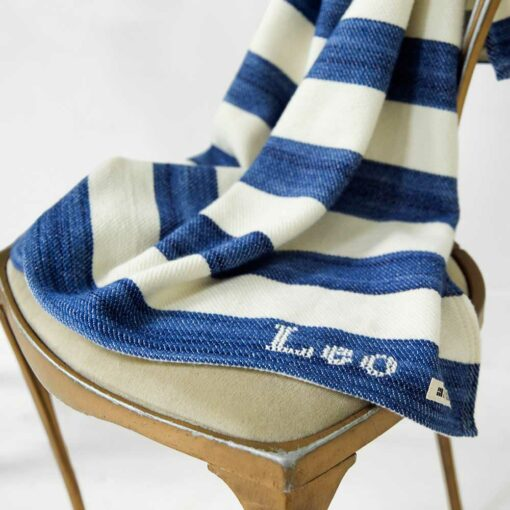 Swans-Island's_Regatta-Baby-Blanket in soft organic Merino wool and cotton - add a hand-stitched monogram for the perfect baby gift