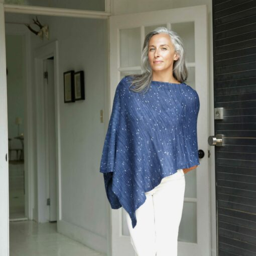 Swans-Island_Firefly-Ruana knit in Sapphire merino silk
