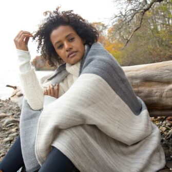 Swans-Island_Rangeley-Throw_organic merion cotton in Graphite and Dove
