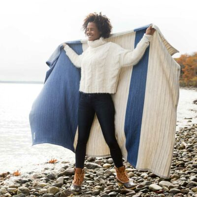 Swans-Island_Rangeley-Throw_organic merino wool and cotton in Nautical-Blue and Dove-