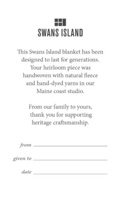 Swans Island Company's Handwoven blanket Provenance Card, to record the giving of a special gift.