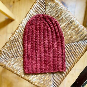 Swans-Island-Handknit-Watch-Cap_in Pomegranate All American Wool