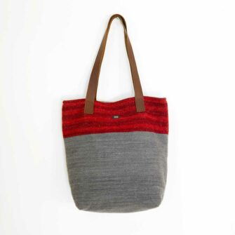 Swans Island Bayview-Tote_Hibiscus-Ash__handwoven in Maine