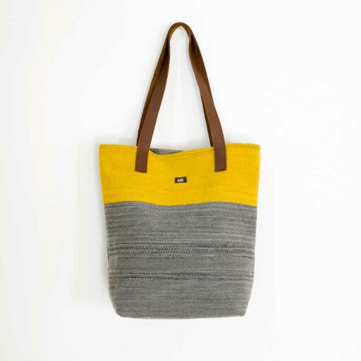 Swans Island Bayview-Tote_Ochre-Ash__handwoven in Maine