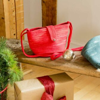 Swans Island Crossbody Bucket Bag hand-dyed cotton made in New England by Hey Blue
