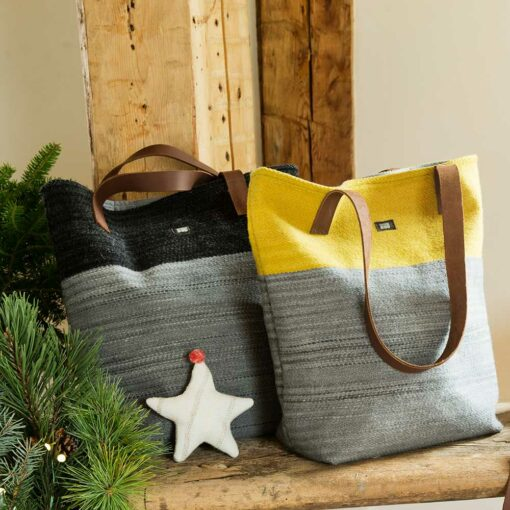 Swans Island Bayview-Tote Bag, made in Maine with hand-dyed handwoven wool cloth, leather straps