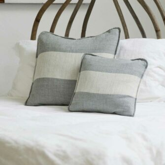 Swans Island Solstice Pillows - Handwoven with undyed wools in White+Grey