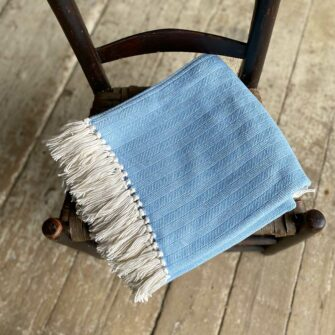 Swans-Island-Bradbury-Throws in Light Blue woven in Maine with American