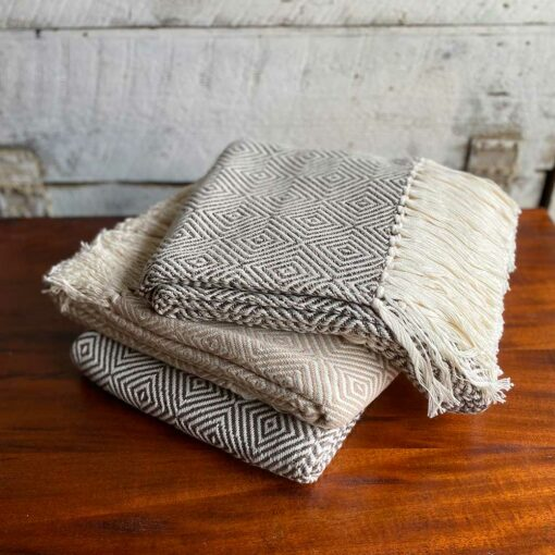 Swans-Island-Diamond-Alpaca and cotton Throws - made in Maine