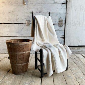 Swans Island Farmhouse Cotton Throw - Soft chunky cotton herringbone texture, woven in Maine