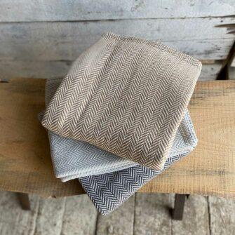 Swans Island Belfast Throw- classic herringbone in 100% Cotton, woven in Maine
