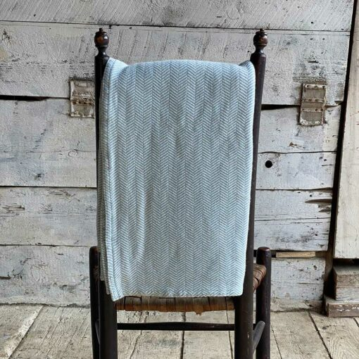 Swans Island Harmony Throw in Light Blue- Soft cotton and cashmere, woven in Maine