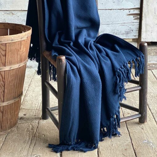 Swans Island_Summer Twill_Throw_in Navy - 100% cotton woven in Maine
