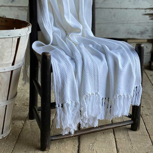 Swans Island_Summer Twill_Throw_in White - 100% cotton woven in Maine