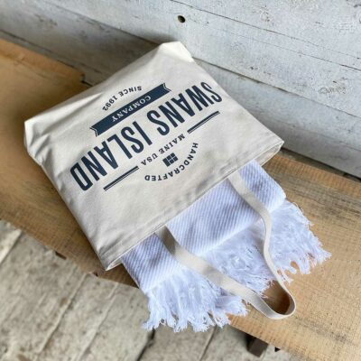 Swans Island_Summer Twill_Throw_comes in our cotton canvas tote.