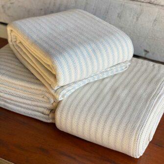 Swans Island Ticking Stripe Blanket_100% Cotton woven in Maine