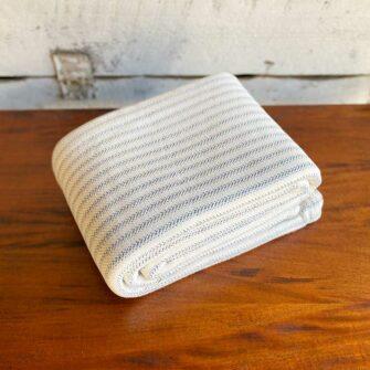 Swans Island Ticking Stripe Blanket in Denim - 100% Cotton Woven in Maine