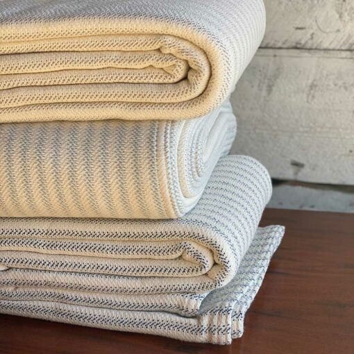 Swans Island Ticking Stripe Blanket_100% Cotton woven in Maine