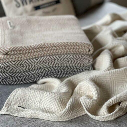 Swans Island's Diamond Alpaca Throw blanket is woven in Maine with 100% Alpaca.
