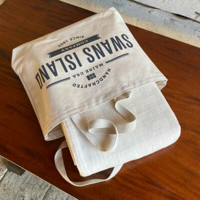 Swans Island Dover Blanket in undyed natural cotton comes in a Swans Island canvas tote bag.
